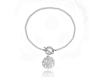 Personalized Toggle Bracelet With Monogram Initial Charm (Order Any Initials) - Sterling Silver