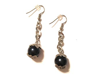 Black Pearl and Silver Earrings. Dangle 2 inches long.