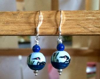 Loon Earrings - Sterling-Hand Painted-Loon Jewelry