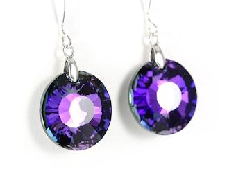 Sun jewelry, sun earrings, blue crystal earrings, purple crystal earrings, heliotrope crystal, heliotrope jewelry, blue sun jewelry