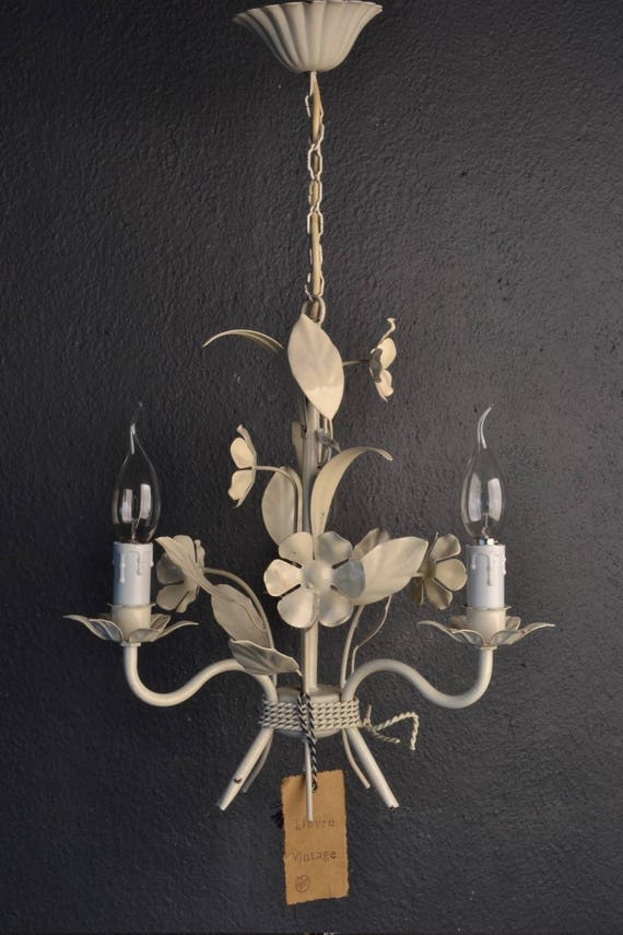 Painted toleware chandelier with white flowers
