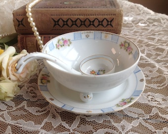 Vintage Nippon Hand Painted Mayonnaise or Condiment Bowl with Matching Ladle and Under-plate FREE SHIPPING