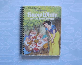 Snow White notebook - golden book journal - repurposed planner