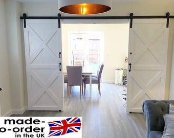 Bi-Parting double sliding barn door system