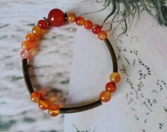 Carnelian bracelet,Zodiac bracelet,Zen bracelet,Gift for Her,Orange bracelet