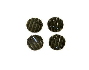 Cabochon 10mm flat black ribbed plastic glitter