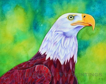 Bald Eagle Painting Watercolor Painting Watercolor Bird Painting Bald Eagle Art Pop Art Painting Fine Art Painting Bird Art Print