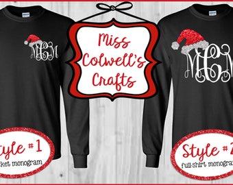 Long Sleeved Santa Hat Monogram Shirt, Custom Monogram Holiday Shirt, Christmas Shirt Youth and Adult Sizes