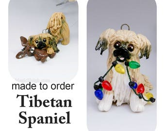 Tibetan Spaniel PORCELAIN Christmas Ornament Figurine Made to Order