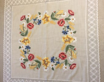 German handmade embroidered tablecloth centerpiece with lace
