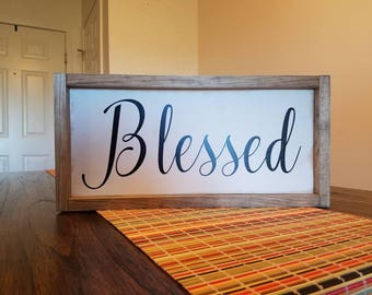 Blessed Farmhouse Wood Sign
