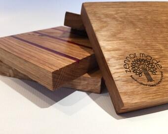 Bespoke Handmade Reclaimed Oak & Magenta Resin Wooden Coasters - Cornish Reclaimed Oak Floorboards