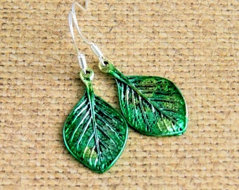 leaf earrings, drop, dangle, colorful jewelry, green earrings, gift for her, gift for women