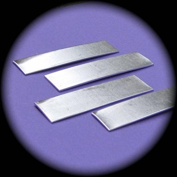 "12 Blanks 1/2"" x 2"" Tumble Polished Rectangles 14 Gauge Pure Food Safe Aluminum - 12 Blanks"