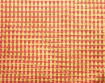 Plaid Fabric in Red and Gold