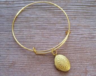 Art Deco Locket Bracelet, Gold Brass Locket Bracelet, Oval Locket Bangle Bracelet, Small Locket Charm, Choice of Gold or Silver