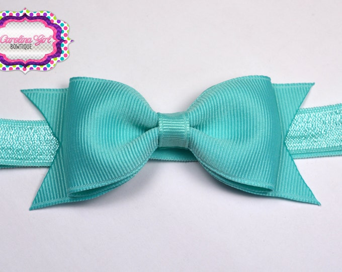 "Aqua Tuxedo Bow Headband  ~ 3.5"" Hairbow ~ Small Hair Bow ~ Girls Headband ~ Toddler Bow ~ Baby Hair Bow ~ Hair Clip ~ Girls Hair Bow"