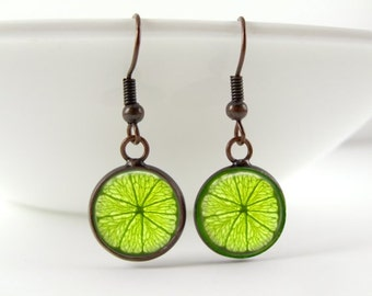 Lime Earrings for Her - Fruit Earrings - Dangle Drop Earrings - Fun Gifts - Lime Green Earrings - Birthday Gift - Handmade Gifts