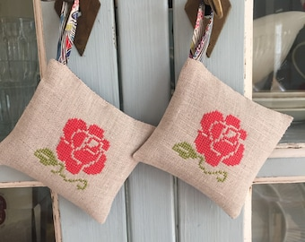Handmade Set of Two Red Rose Lavender Sachets Mothersday Gift Liberty of London Fabric