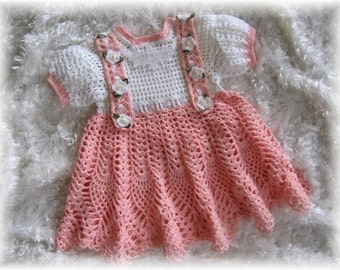 Crochet Pattern Dress for Baby Girl --- Peaches and Cream Baby Dress