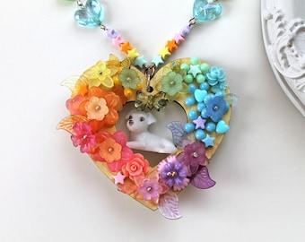 Kawaii Märchen Kei Halsband Hund Welpe Fairy Kei Regenbogen Blumen extravagante lolita