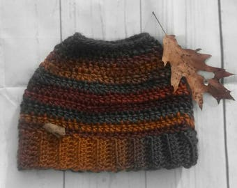 Messy bun beanie, Ponytail hat with opening for ponytail, boho hat, messy bun hat, Choose your colors! Design your messy bun hat.