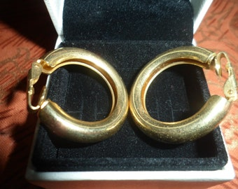 Retro Gold Plated Hoop Clip on Earrings