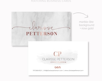 Business Card Design, Premade Business Card Template, Elegant Business Card, Rose Gold Business Card, Marble Background Business Cards