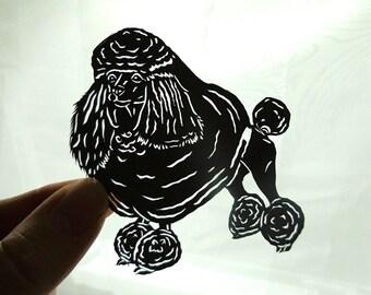 Original Miniature Poodle Paper Cutting, Scherenschnitte, Dog Art, Pet Portrait
