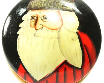 Folk Art German Handmade Hand-Painted Round Wooden Kris Kringle Santa Claus Old St. Nick Trinket Box Stash Box Christmas Holiday Decor