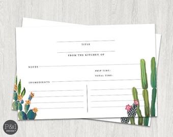 Recipe Card   Fiesta Cactus Bridal Shower (6x4)