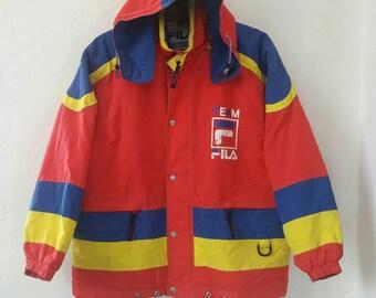 Vintage Team FILA Sports Colour Block Hooded Jacket Medium