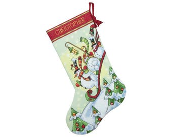 Sledding Snowmen Counted Cross Stitch Christmas Stocking Kit