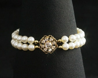 Double Strand Pearl Bracelet -- Rhinestone Pearl Bridal Bracelet, Gold Rhinestone Wedding Jewelry, Two Strand Wedding Bracelet -- ALEXANDRA