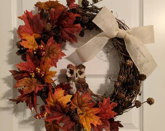 Fall Wreath, Woodland Wreath, Owl Wreath, Fall Leaves Wreath, Front Door Fall Wreath