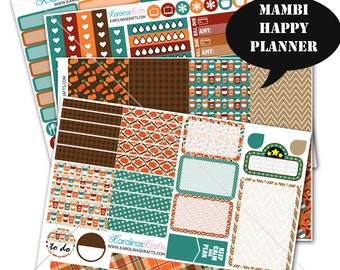 Fall Stickers Fall Planner Kit 200+ Happy Planner Stickers, Mambi Planner Sticker kit, Weekly Planner Kit, Fall Stickers #SQ00109-MHP
