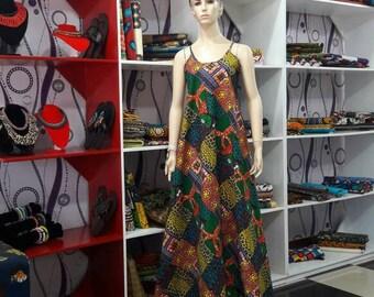 African Print Maxi Dress, Ankara Maxi Dress, Ankara Sleeveless Dress, Summer Fashion, Floorlength Dress, Loose Dress, Pocket Dress.