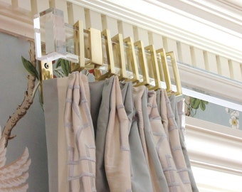 Custom Lucite Rectangular Modern Curtain Rod in Polished Brass, Nickel, Brushed Nickel, and Satin Brass