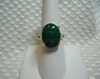 Cabochon Oval Malachite Ring in Sterling Silver   #1723