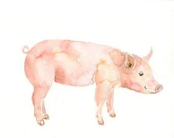 PIG 7x5 Print-Art Print-animal Watercolor Print-Giclee Print-Nursery decor