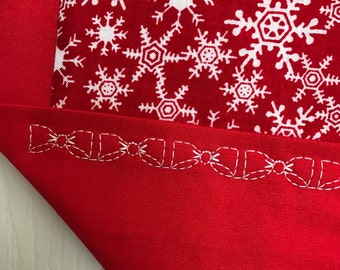 SALE-Snowflake Table Runner Red/Red Trim