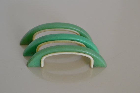 3 Jadeite Green Cabinet Knobs Drawer Pulls Bin Pulls Mint Green Kitchen  Decor Green With Ivory 3.25 Long 2.25 Centers Jadite Green Decor APV From  ...