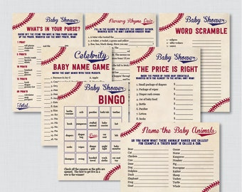 Baseball Baby Shower Games Package - Seven Printable Games: Bingo, Price is Right, Purse Game, Nursery Rhyme - Vintage Baseball Games 0027