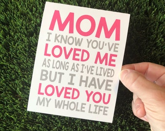 Card for Mom - Mother's Day Card - I love you mom - Mom's Day - Card for Mother
