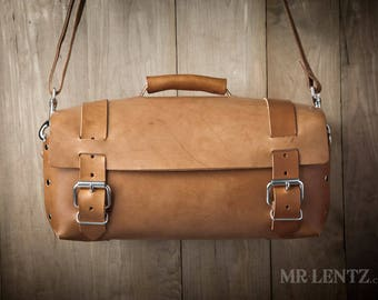 Leather Bag, Leather Work Bag, Leather Travel Bag, Men's Leather shoulder bag, Leather gear bag 240EX
