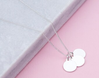 Personalised Sterling Silver Disk Necklace