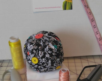 Black and White Large Pin Cushion  Canadian Smocking Coral Yellow Green Buttons  16 inch Round Up-cycled Fabric Scrapes Gift Sewing Tool