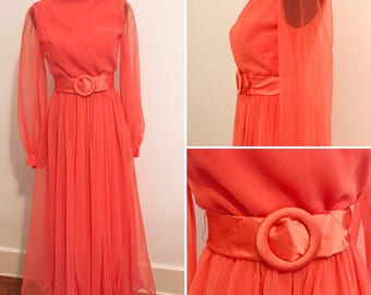 Miss Elliette Vintage 1970s Pink Chiffon Gown Miss Elliette of California Gown - Vintage 1970s Chiffon Gown - 1970s Vintage Dress