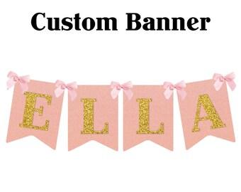 Custom Name Banner Glitter First Birthday Decorations Pink & Gold Birthday Party Custom Birthday Baby Shower Decorations 1 banner one banner