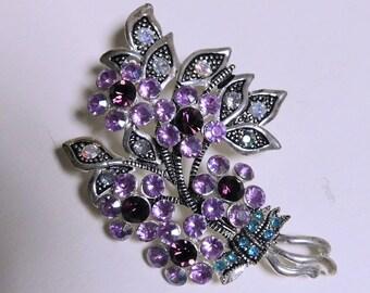 Vintage AVON NA Flower Bouquet Brooch Pin Purple, Blue, Clear Rhinestones